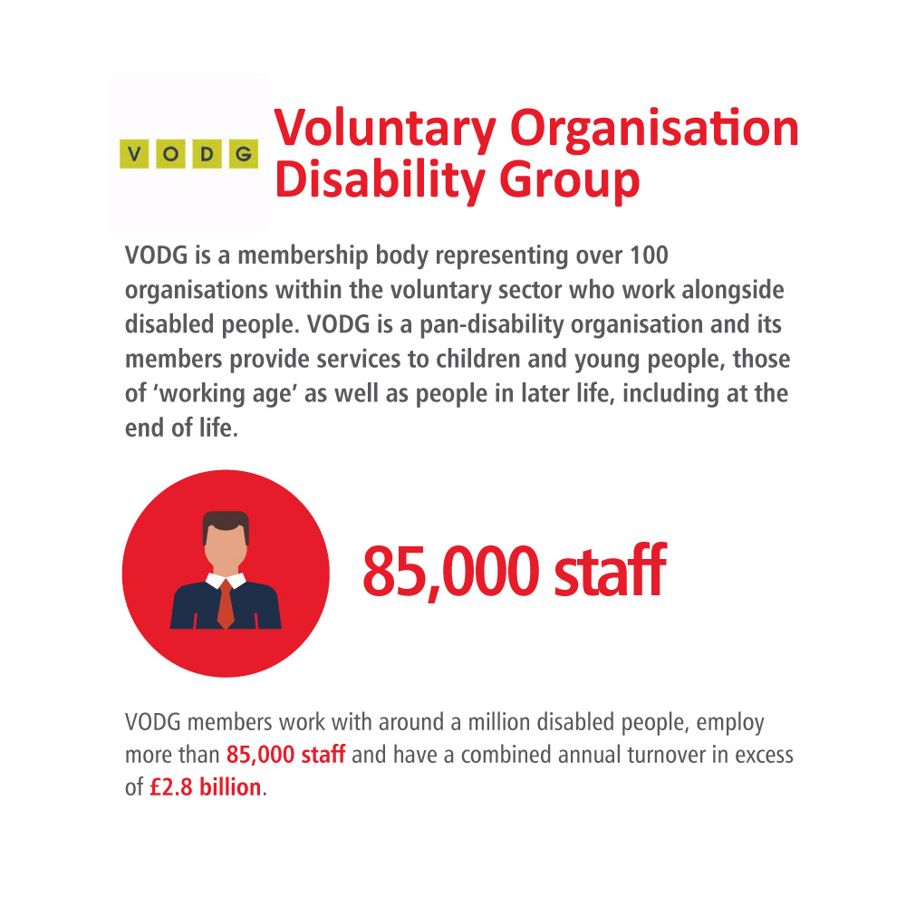 infographic of the key stats on the CPA member page for Voluntary Organisations Disability Group